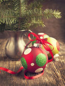 Christmas ball on wooden background — 图库照片