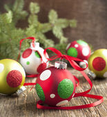Christmas ball on wooden background — Стоковое фото