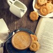 Stock Photo: Cup of coffee and cookies