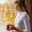 Beautiful girl with a cup of hot chocolate in the autumn morning — Stock Photo