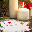 Christmas Decoration with Candles and Greeting card — Stock fotografie