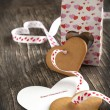 Card with Message Happy Valentine Day and Heart Shaped Cookies — Stock Photo #36133777