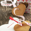 Card with Message Happy Valentine Day and Heart Shaped Cookies — Stock Photo #36134317