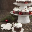 Christmas chocolate cupcakes with cream cheese frosting — Stock Photo