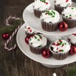 Christmas chocolate cupcakes with cream cheese frosting — Stock Photo #36431607