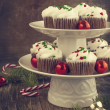 Christmas chocolate cupcakes with cream cheese frosting. — Stock Photo #36431623