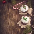 Christmas chocolate cupcakes with cream cheese frosting. — Stock Photo #36431631