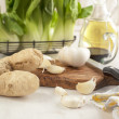 Ginger, bok choy, and garlic — Stock Photo