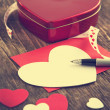 Heart shaped Valentines Day gift box and empty greeting card — Stock Photo