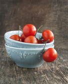 Fresh tomatoes in bowl on woden table — Stockfoto