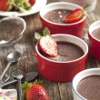 Chocolate Panncottwith strawberry. Selective focus — Stock Photo #37253403