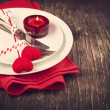Festive table setting for Valentine's Day with fork, knife and hearts — Stock Photo
