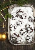 Chocolate Crinkles. Chocolate cookies in powdered sugar. — Stock Photo