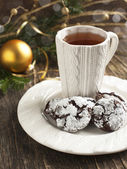 Chocolate Crinkles. Chocolate cookies in powdered sugar. — Stock Photo