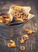Snack mix. Salty treat for snacking. Toned image — Stock Photo
