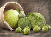 Still life with assortment cabbages on wooden background — Stock Photo