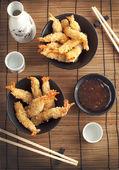 Tempura Shrimps (Deep Fried Shrimps) with sauce — Stock Photo