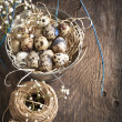 Easter decoration with quail eggs on wooden board. — Stock Photo