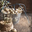 Easter decoration with quail eggs and branches on wooden board. — Stock Photo #38817637