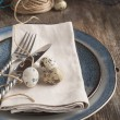Easter table setting with quail eggs old wooden table — Stock Photo #38817737