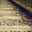 Close up on part of railroad track — Stock Photo