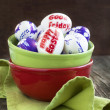 Decoration Easter eggs with words Happy Easter and Good Friday — Stock Photo