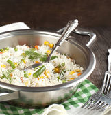Rice with mixed vegetables in pan — Stock Photo