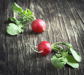 Two fresh radish on wooden background — Stock Photo