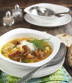 Dried Wild Mushroom and potato soup. — Stock Photo
