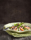 Salad with tomato and white beans. Selective focus — Stock Photo
