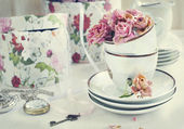 Vintage natureza morta com rosas secas — Foto Stock
