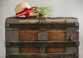 Summer blue flowers, old books and straw hat on old vintage ches — Stock Photo