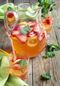 Strawberry lemonade. Selective focus — Stock Photo