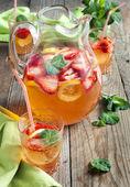 Strawberry lemonade. Selective focus — Stock Photo