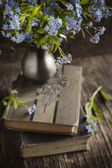 Vintage books and  summer blue flowers. Toned image. Small depth — Stok fotoğraf
