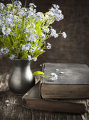 Vintage books and  summer blue flowers. — Stock Photo