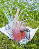 Lemonade with raspberry. Selective focus — Stock Photo