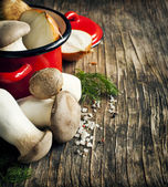 King trumpet mushrooms and vegetables for cooking soup — Stockfoto