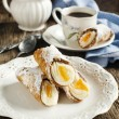 Sicilian cannoli with orange. Typical sicilian pastry — Stock Photo #49550775