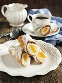 Sicilian cannoli with orange. Typical sicilian pastry — Stock Photo