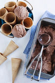 Chocolate ice cream in a waffle cones — Stock Photo
