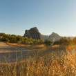 Beautiful panoramic photo of road through the amazing rocky mountain landscape of Sierra de Grazalema Natural Park at sunset. Rocks and pine trees. Blue sky. Andalusia. — Stock Photo