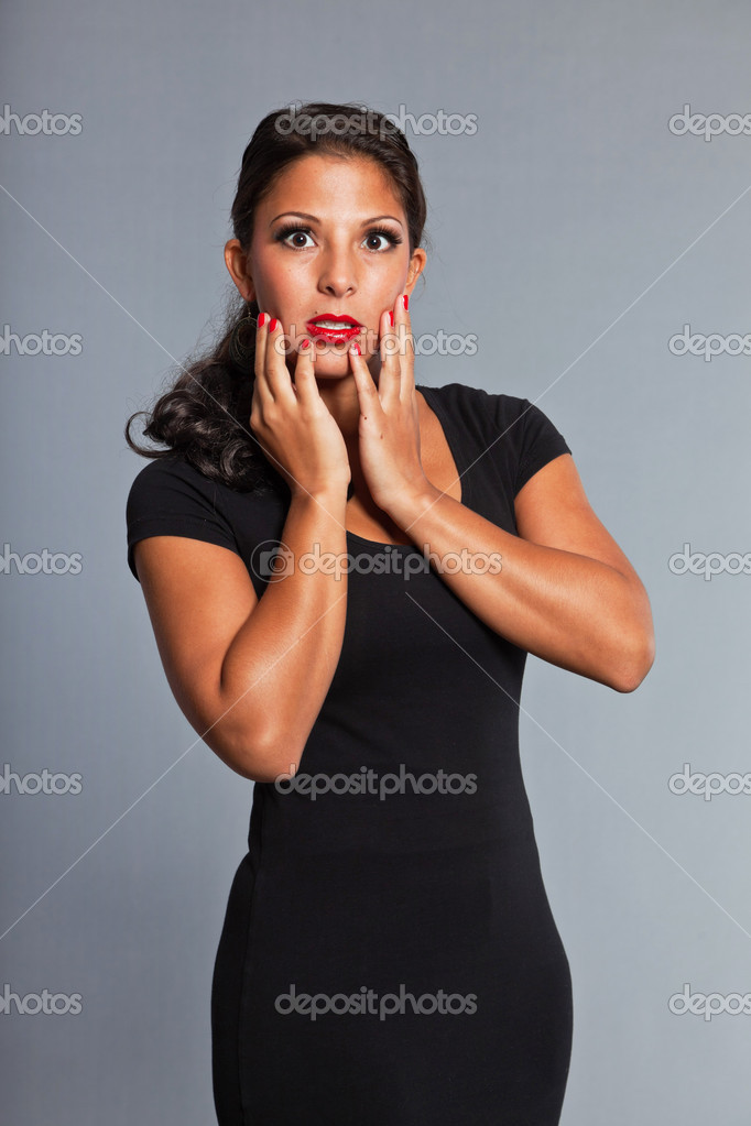 Red lips nails black dress a collection of dresses for you