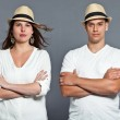 Diverse young happy couple together. Dressed in white. — Stock Photo