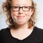 kıvırcık sarı saçlı genç kız mutlu — Stok fotoğraf