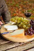 Table with plate of cheese, grapes and red wine. — Stockfoto