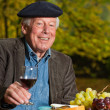 Senior french man enjoying red wine. — Stock Photo
