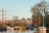 Harbor in old dutch city. — Stock Photo