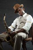 Vintage black african american jazz musician. — Stock Photo