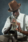 Vintage black african american jazz musician. — Stock Photo